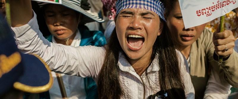 Tep Vanny bei einem Protest